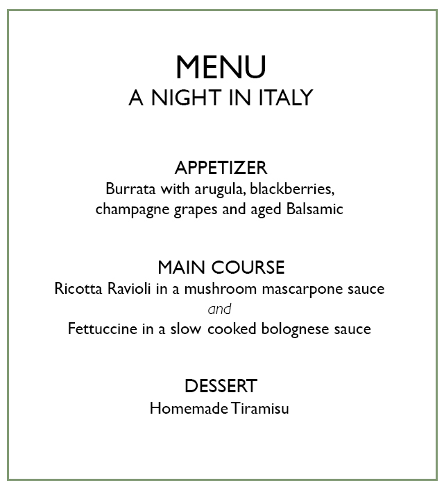 menu for Italian night