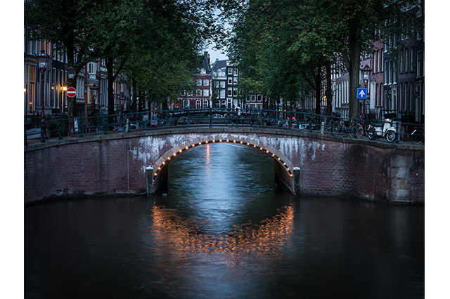 Nine Streets in Amsterdam at sunset