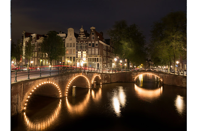 Nine Streets in Amsterdam at night