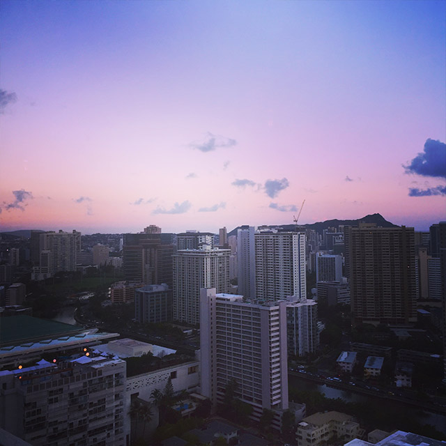 sunset over Honolulu