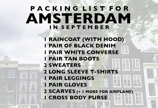 PACKING LIST for Amsterdam in September