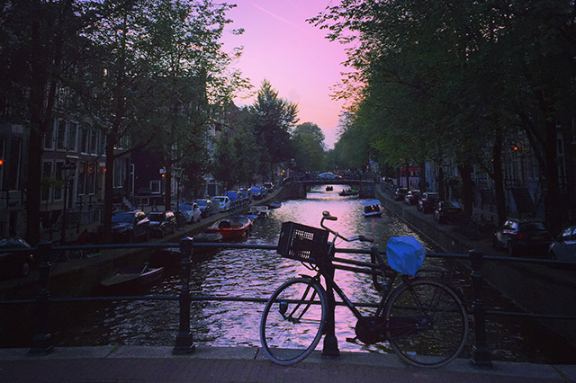 Amsterdam in September sunset