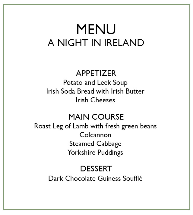 menu for a night in Ireland dinner