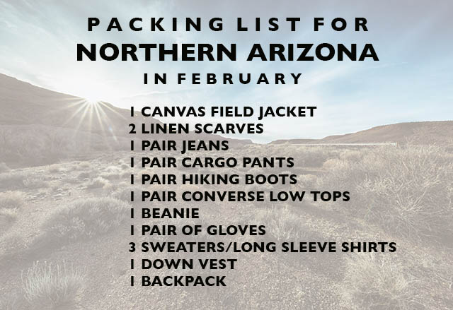 PACKING LIST FOR northern arizona