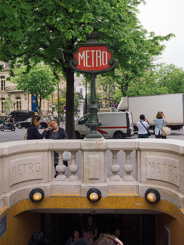 Metro stop in Paris