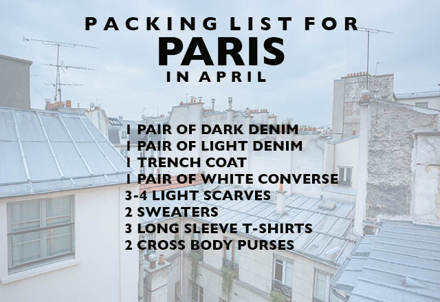 PACKING LIST FOR paris