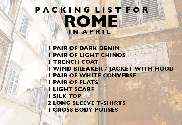 PACKING LIST FOR rome