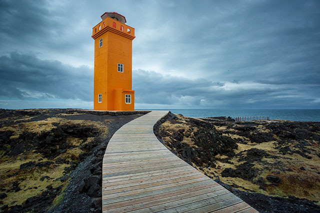 orange lighthouse in Iceland