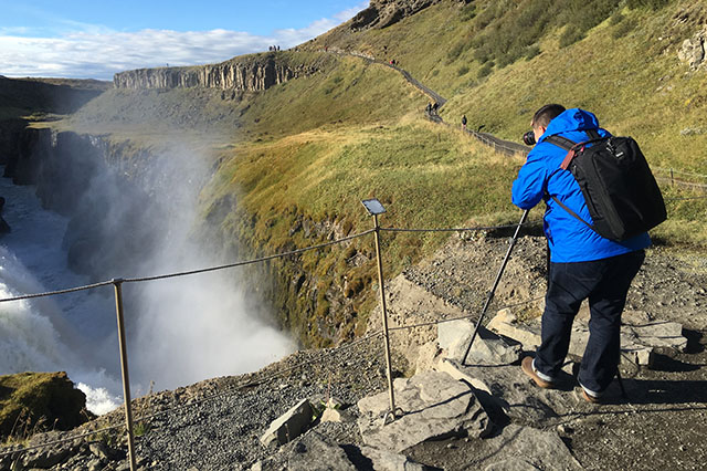 taking photos at Gullfoss