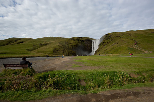 visiting Skógafoss Waterfall in Iceland