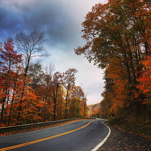 Driving backroads in Autumn in New England