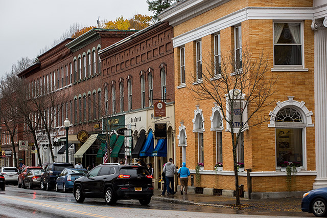downtown in Woodstock Vermont