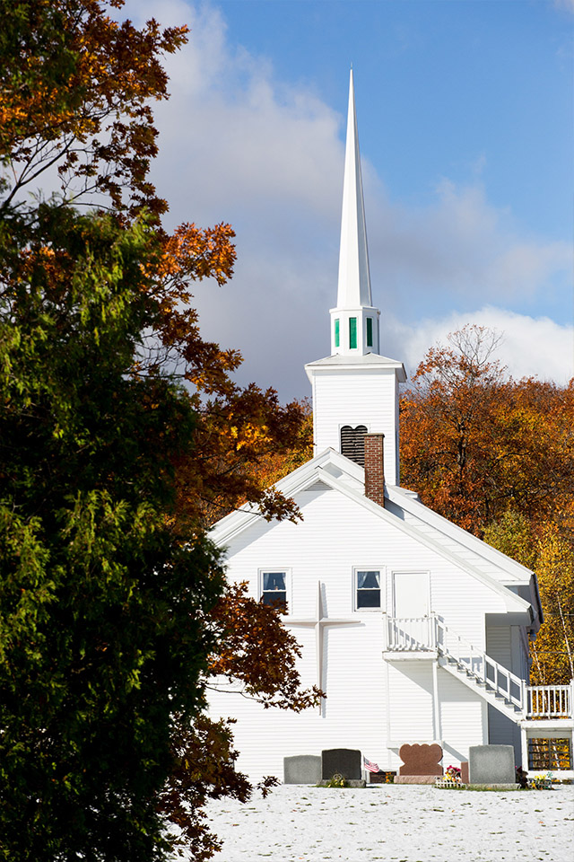 white church steeple New England