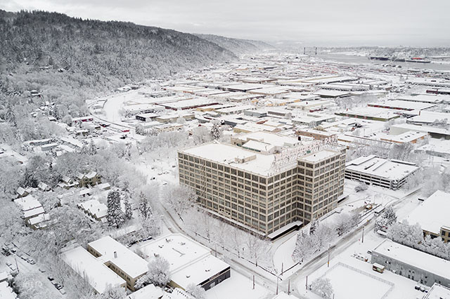 drone view of snow in Portland Oregon