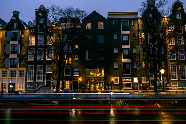 early spring in Amsterdam twilight