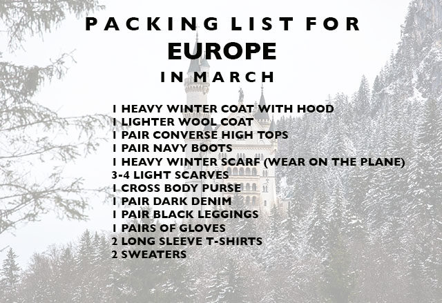 packing list for Europe in march