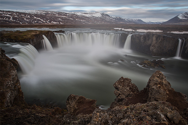 great landscape at Godafoss Waterfall in Northern Iceland