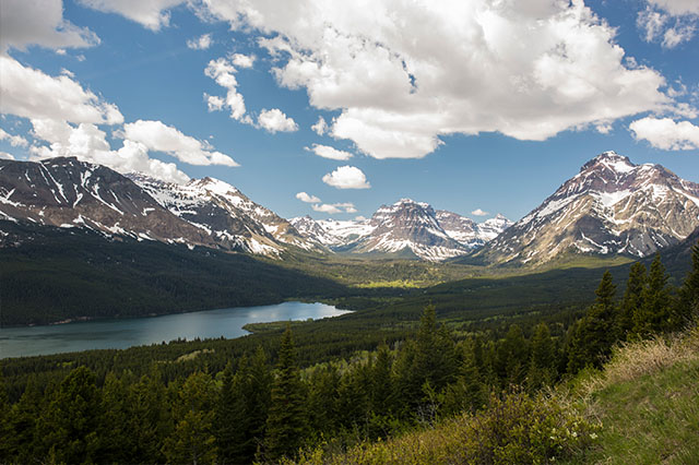 mountain views in East Glacier National Park