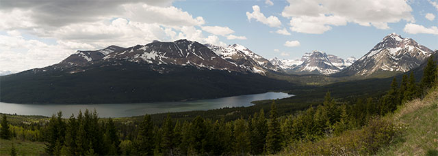 panorama of East Glacier National Park