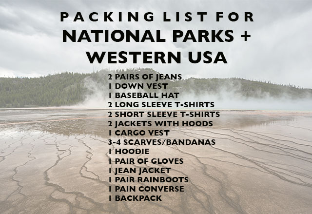 packing list for national parks