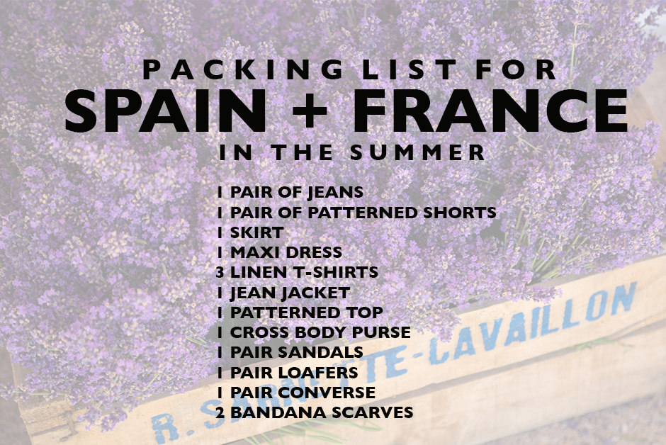 packing list for barcelona and france in the summer