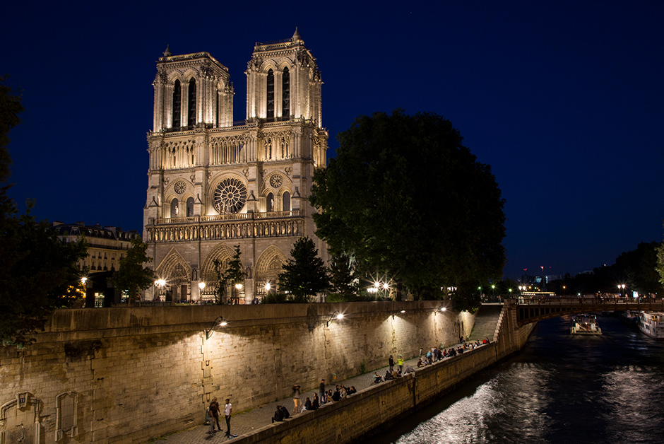 Notre Dame lit up at night