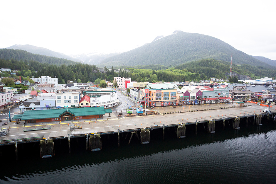 cruise to Alaska pulling into Ketchikan