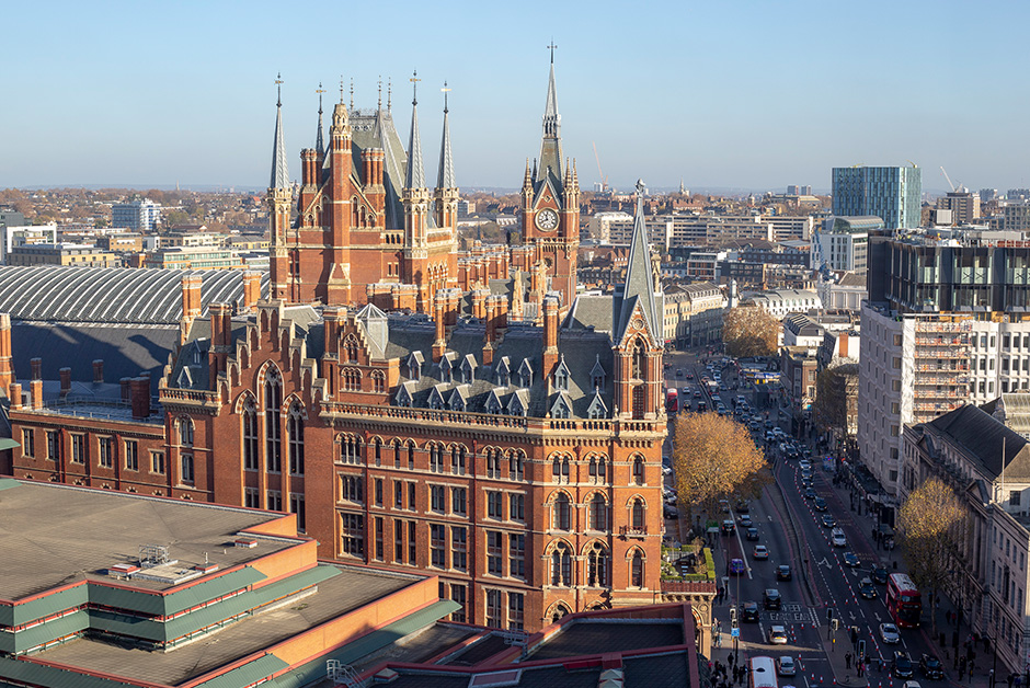 London st Pancras from above