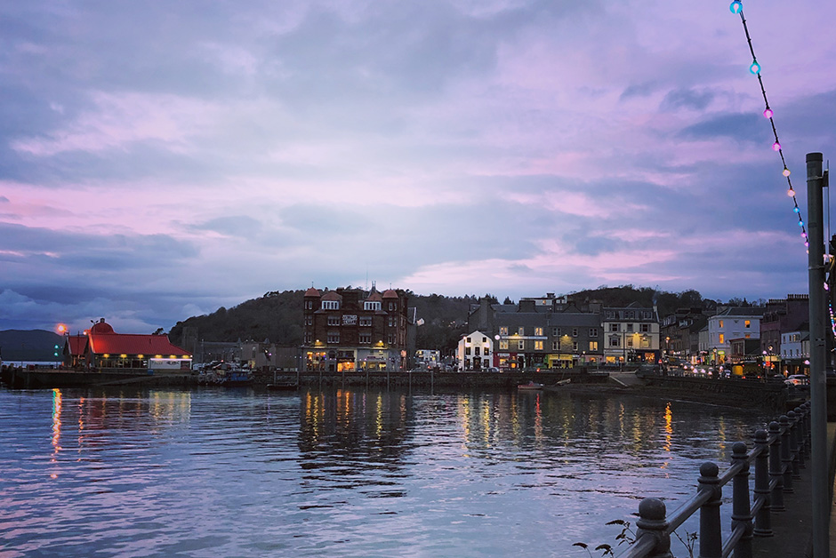 Scottish highlands sunset in Oban Scotland