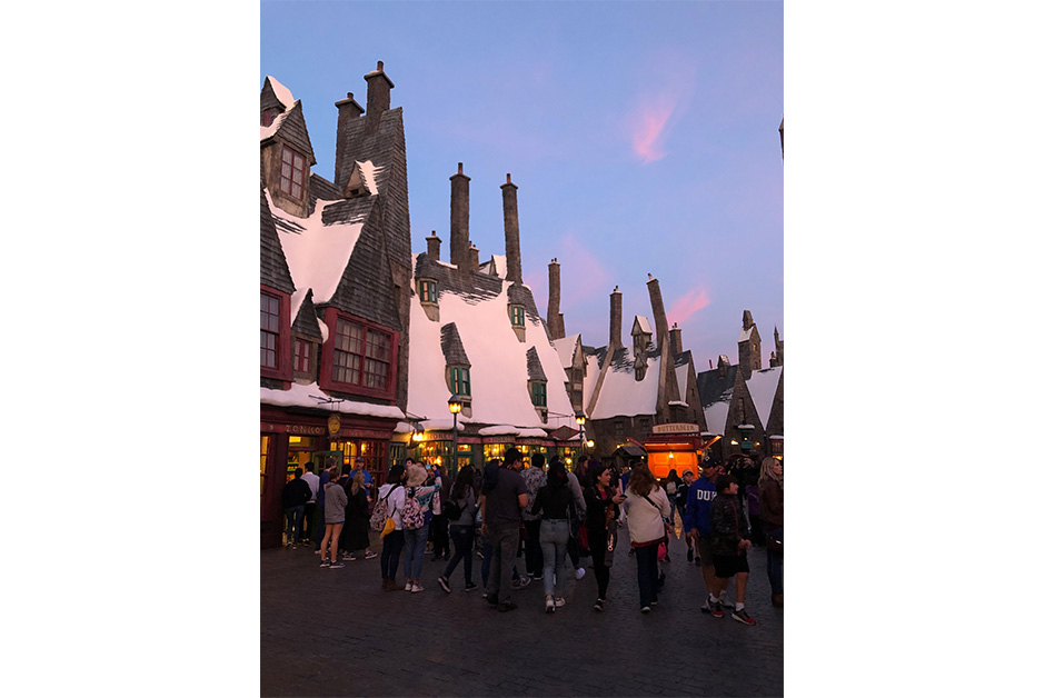 Wizarding World of Harry Potter in Los Angeles sunset