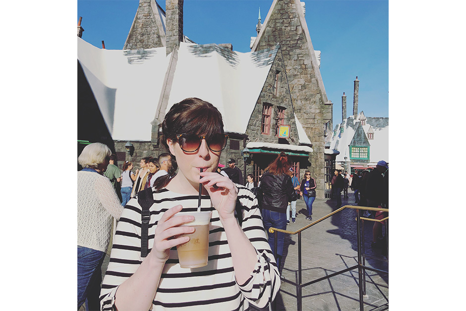 Wizarding World of Harry Potter in Los Angeles drinking butterbeer