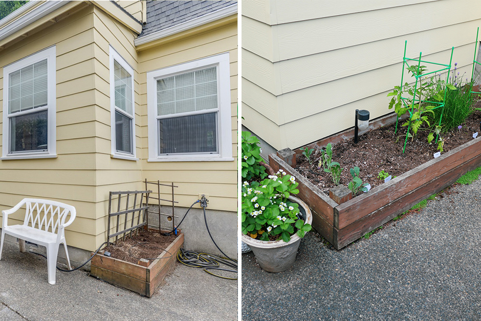 before and after raised bed