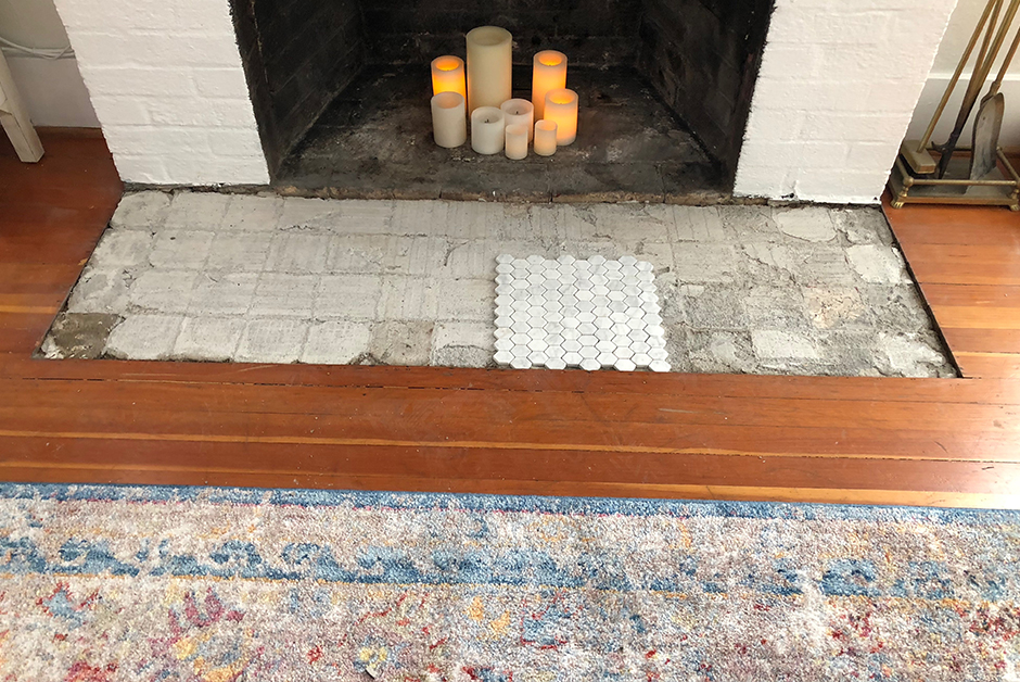 fireplace during construction