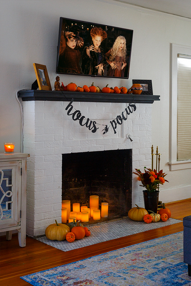 halloween decorations on fireplace