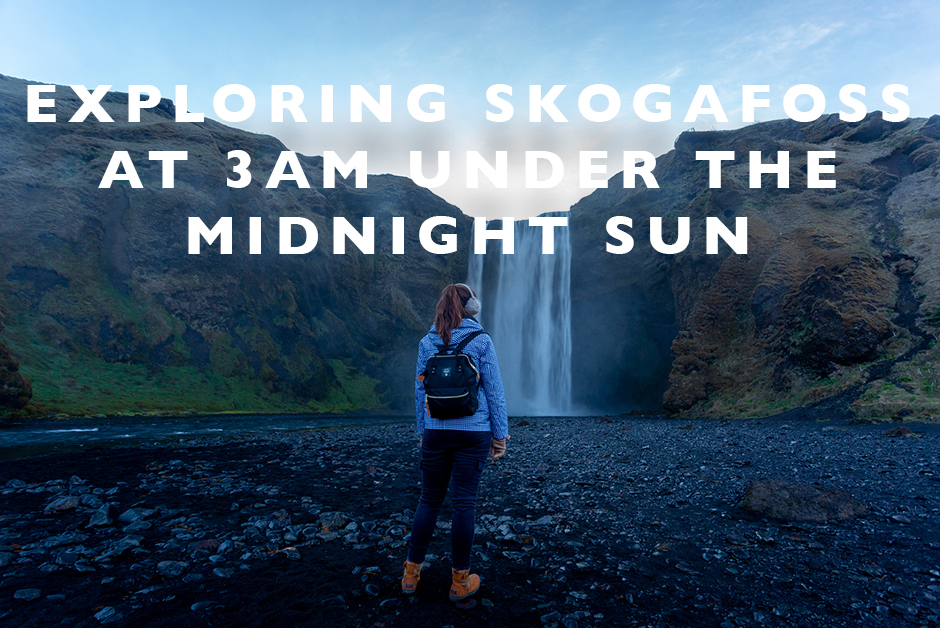 exploring skogafoss under the midnight sun